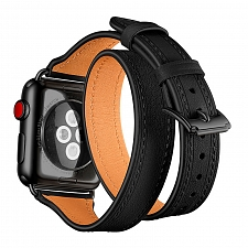 Ремешок для Apple Watch 38/40mm L&Y Leather Band Double Tour Black