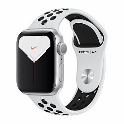 Apple Watch Nike+ Series 5, 40 mm Silver Aluminum Case, Pure Platinum/Black Nike Sport Band