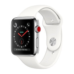 Apple Watch Series 3, 42 mm Silver Stainless Steel Case, White Sport Band