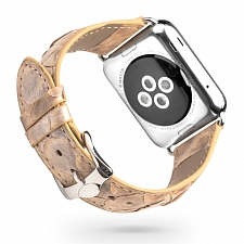 Ремешок для Apple Watch Qialino Leather Snake Band 38mm Beige