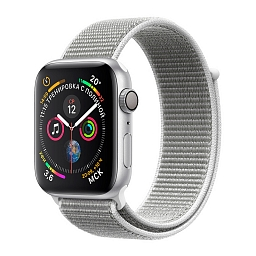 Apple Watch Series 4, 44 mm Silver Aluminum Case, Seashell Sport Loop