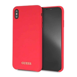 Чехол для iPhone XS Max Guess Silicone collection Gold logo Hard Red