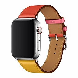 Ремешок для Apple Watch 38/40mm Dixico Leather Band Double Color Series Pink/Yellow