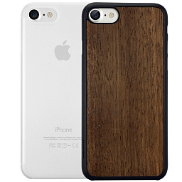 Набор из двух чехлов для iPhone 8/7 Ozaki Jelly Clear и Ozaki Wood Dark Brown