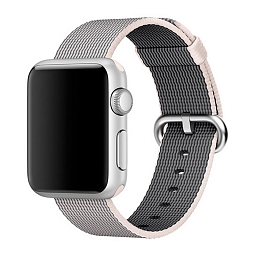 Ремешок для Apple Watch 38mm Dixico Nylon Line Pattern Band Light Gray/White