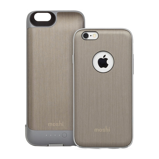 Чехол-батарея для iPhone 6 Moshi iGlaze Ion 2750 mAh Brushed Titanium